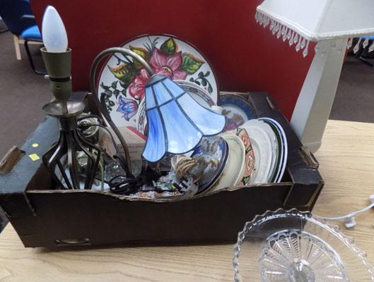 Box of glasses and plates etc