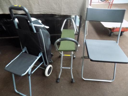 Shopping trolley with seat walker and foldable chair