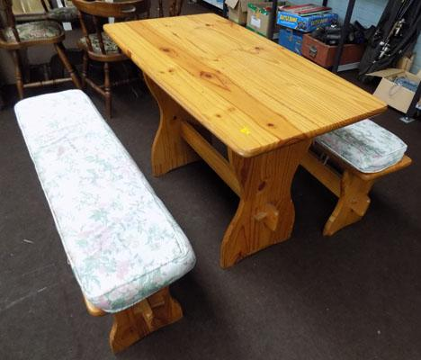 Pine table and 2 pine benches