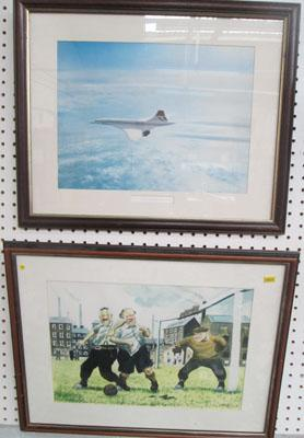 2 Wooden framed pictures-Concorde & comical football scene