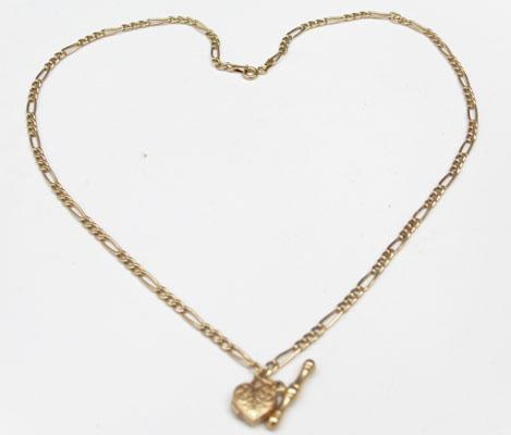 9ct Gold Figaro chain with T bar & heart pendant