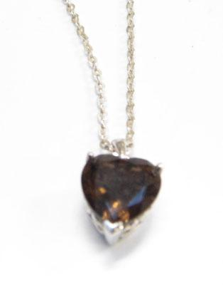 Sterling silver smokey quartz heart necklace