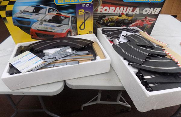 2 boxes of scalextric including cars