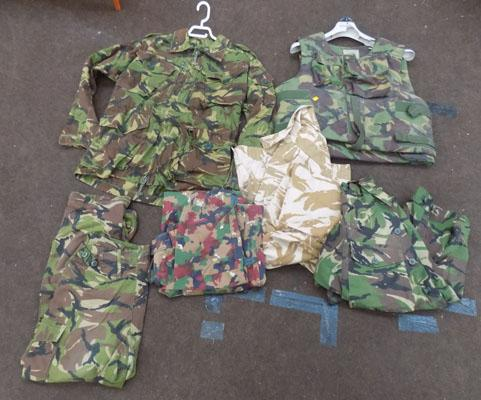 Box of army surplus clothing and stab jacket