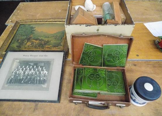 Vintage tiles in small leather case, box of assorted collectables and 2 pictures