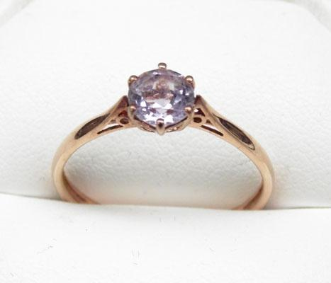 9ct Rose gold Amethyst solitaire ring size U