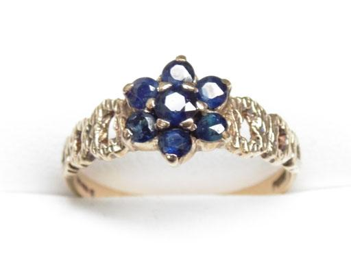9ct Gold Sapphire cluster ring size P1/2