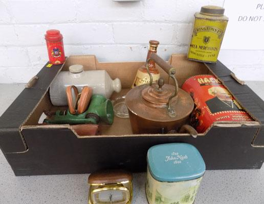 Box of vintage tins & items