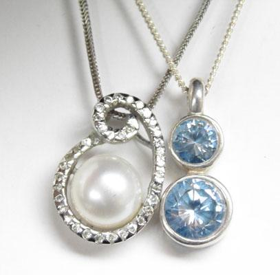 2x Silver necklaces real Pearl & cubic zircona