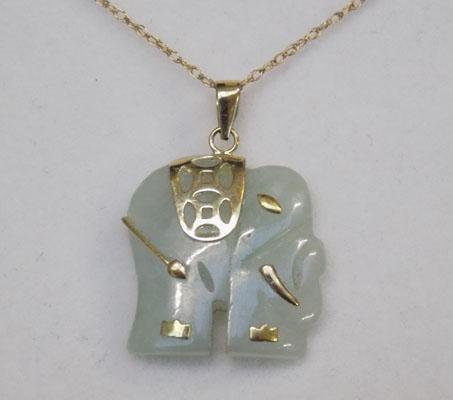 9ct Gold Jade elephant necklace