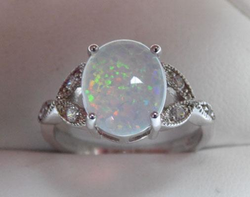 925 silver opal ring - Size P