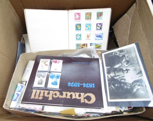 Large box of old stamps, postcards etc.