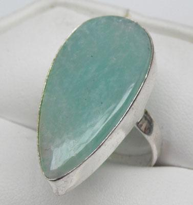 925 silver Amazonite ring - size Q