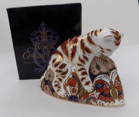 Royal Crown Derby Bengal Tiger cub paperweight, Gold stopper