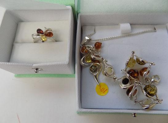 Baltic Amber pendant on sterling silver chain & ring size 7