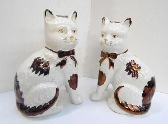 Pair of 1920s Staffordshire cats