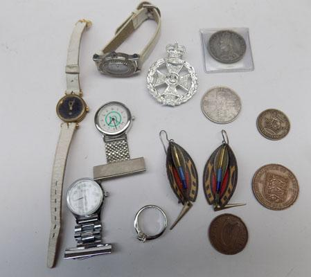 Assortment of watches, coins & other odd items