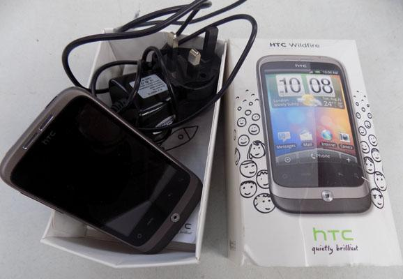 HTC mobile phone, wildfire and charger