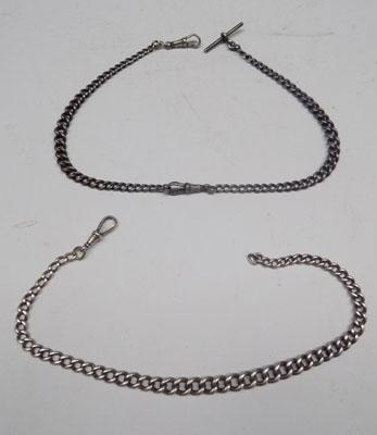 2x Solid silver watch chains