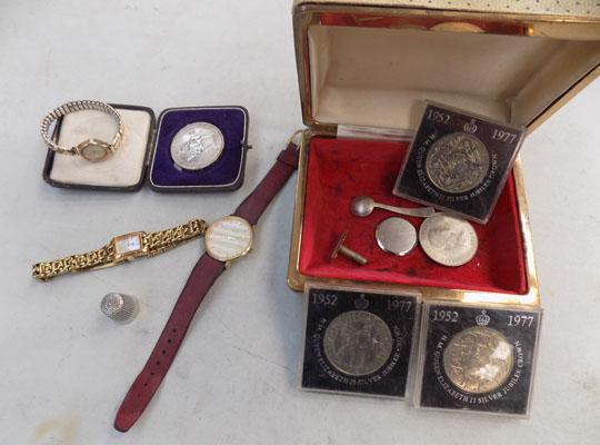 Selection of collectables incl; Rotary watches, coins 1952-1977, Charles Horne thimble