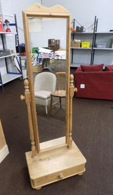 Pine cheval mirror with drawer