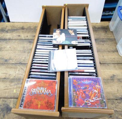 2 wooden CD racks and CD collection