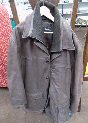 Mans brown leather coat