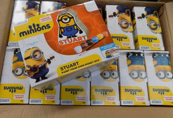 Box of 12 paint your own Minion money box