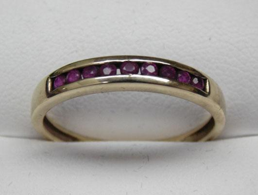 9ct gold ruby half eternity - ring size T1/2