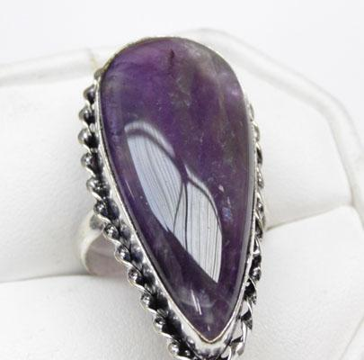 925 silver large amethyst ring - size S