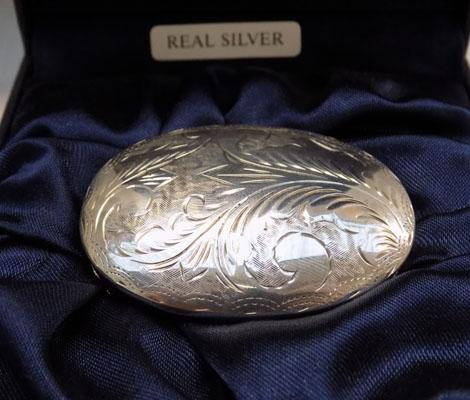 Sterling silver pill/trinket box in box