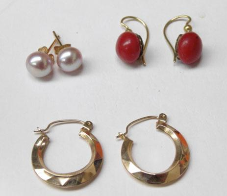 3 Pairs 9ct gold ear rings Pearl,Creole & Coral