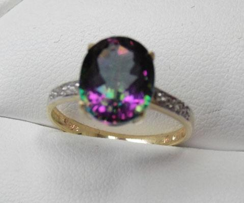 9ct Gold Mystic Topaz ring Diamond accents size N1/2