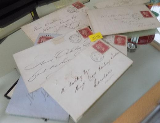Collection of penny reds on envelope