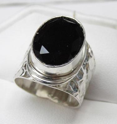 925 Silver black Onyx ring size P