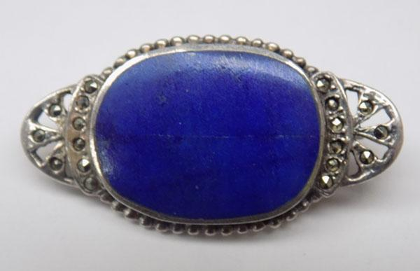 Silver blue Lapis & Marcasite brooch