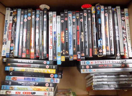 Box of DVDs & small selection of CDs