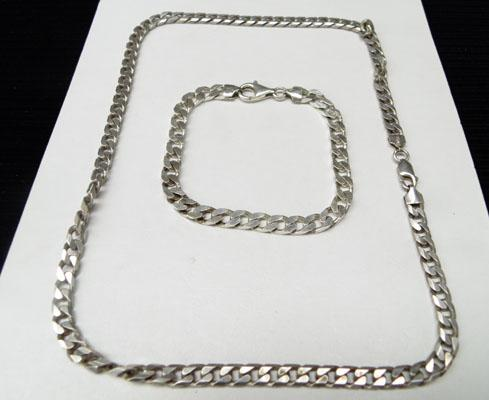 Silver curb chain necklace & silver curb bracelet