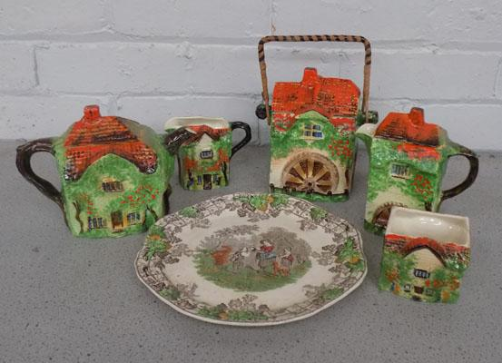 Selection of Cottage ware style teapots etc & Spode plate