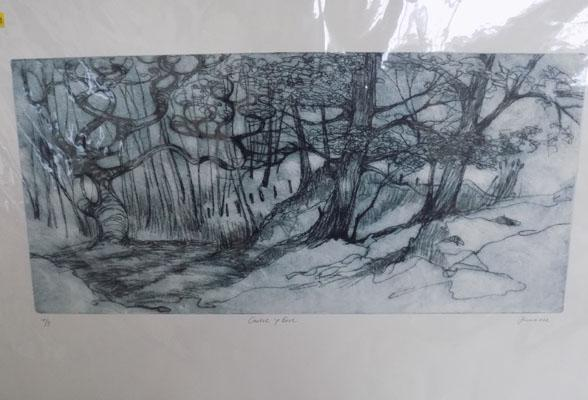 'Castel y Bere' dry point etching by June Russell 7/8