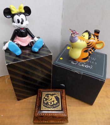 Disney wind up Mini Mouse, musical trinket box & Tiger t pot