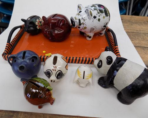Tray & assortment of money boxes