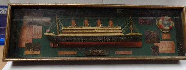 Large shadow box Titanic model in case