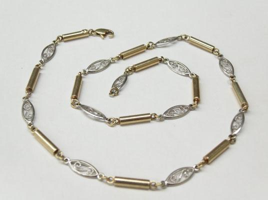 9ct Yellow & white gold necklace broken clasp