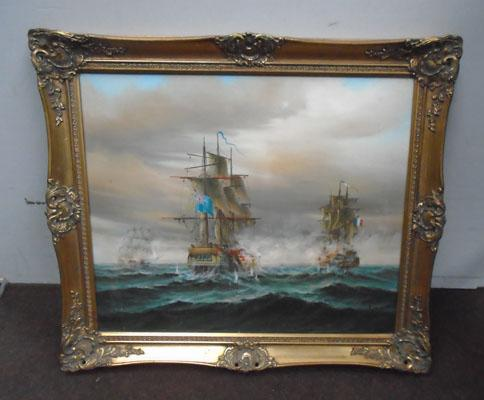 Oil painting by P Davis in ornate frame
