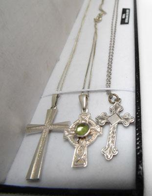 3x Sterling silver crosses & chains