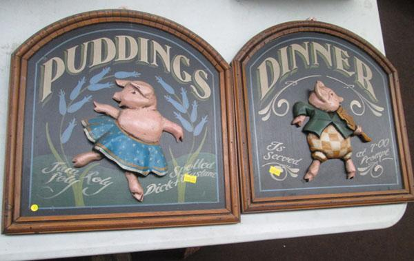 2x Wood dining signs