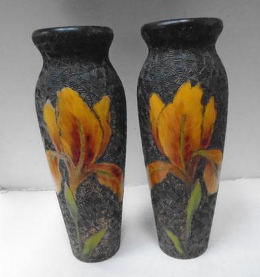 Pair of wood hand carved vases
