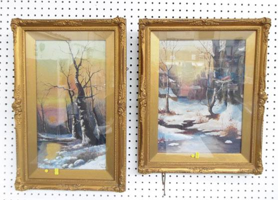 Pair of pictures in ornate matching frames