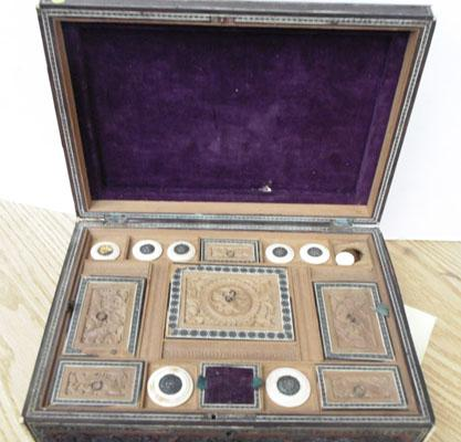 Sewing box-ornate box carved with bone work